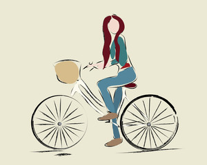 Girl riding a bicycle. Illustration of a Woman on a bike