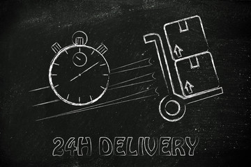 stopwatch and parcels, concept of fast 24H delivery