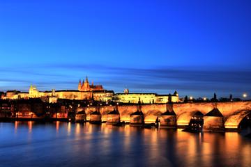 Illuminated Charles Bridge with Prague Castle at Dusk, Prague