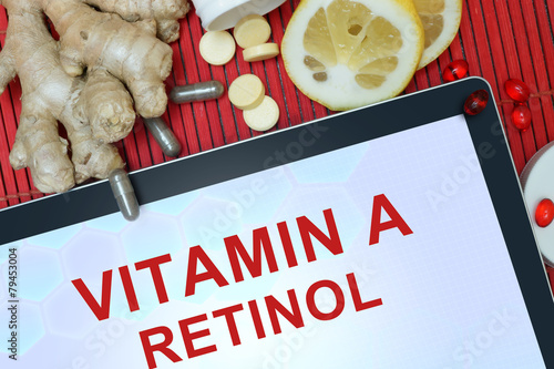 Tablet with words Retinol (vitamin A). Healthy eating. - 79453004