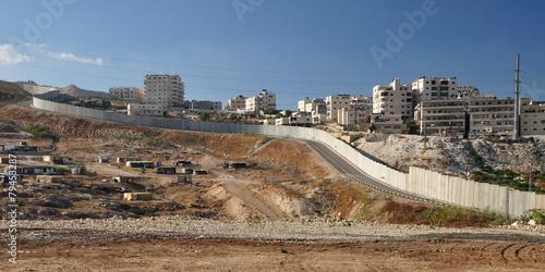 Fotobehang Midden Oosten Israeli security fence near Jerusalem separating west bank.