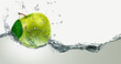 Green Apple amid splashing water. - 79453450