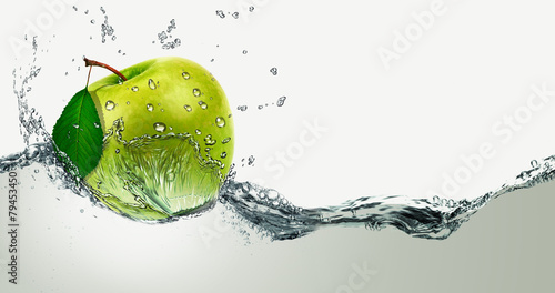 Green Apple amid splashing water. © PRUSSIA ART