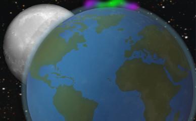Planeta Tierra con la Luna y Estrellas 2