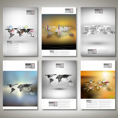 Set of world maps in perspective, blurred infographic vectors