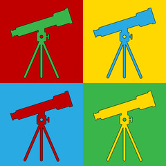 Pop art telescope symbol icons.