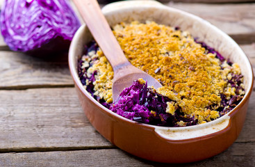 au gratin from red cabbage