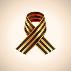 Vector Ribbon of Saint George. Black and gold stripes ribbon