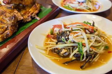 Thai papaya salad serve with vegetables