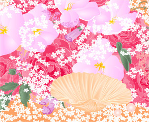 Flowers and seashell vector