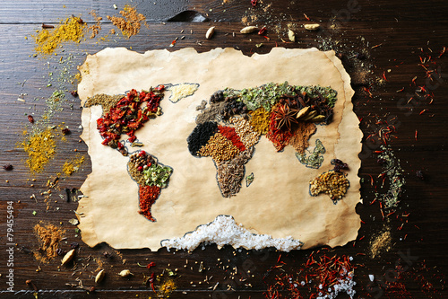 Map of world made from different kinds of spices - 79455494