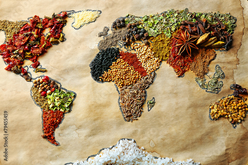 Map of world made from different kinds of spices, close-up плакат