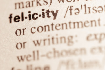 Dictionary definition of word felicity