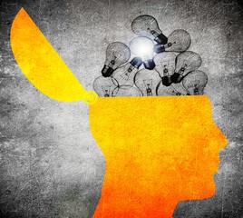 head with bulbs  digital iluustration