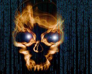hacker attack digital background with skull