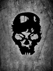 black skull and grey background