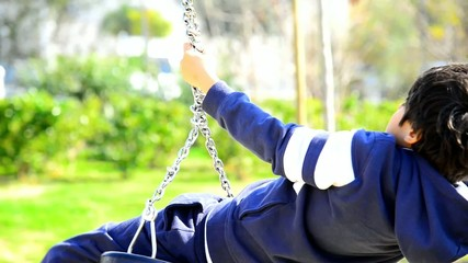 Boy turning round and round with a swing
