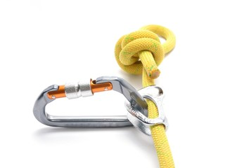 Climbing ascender, rope, carabiner, knot isolated on white.