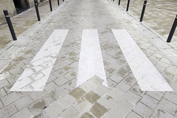 Zebra crossing on asphalt