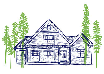 House and trees doodles