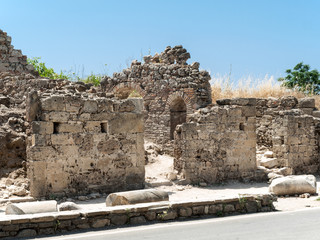 Ruins of ancient city in Side. Turkey