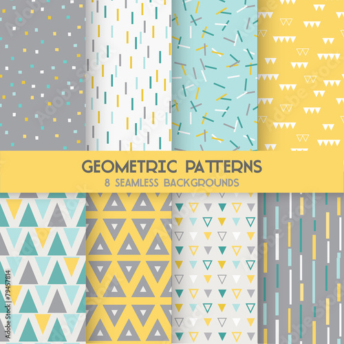 8 Seamless Geometric Patterns - Texture for wallpaper