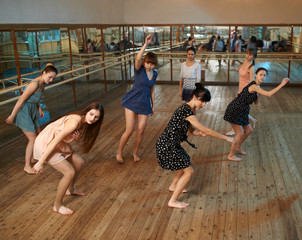 Girls learn dance lessons