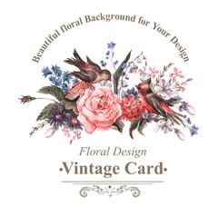 Vintage Greeting Card with Flowers and Birds.