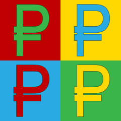 Pop art russian ruble symbol icons.