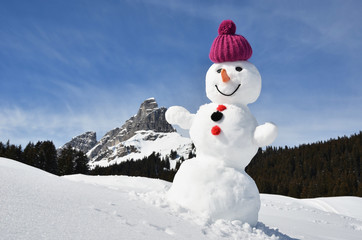 Snowman in the Swiss Alps