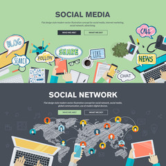Flat design concepts for social media and social network
