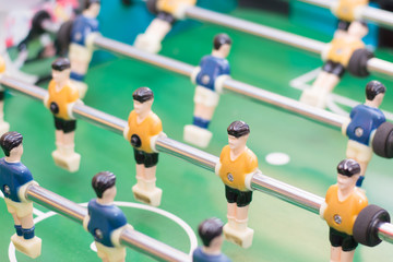 Foosball table or soccer and players