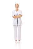 Medical nurse woman with folded arms.