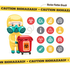 Caution Biohazard Icons and Doctor with Red Container