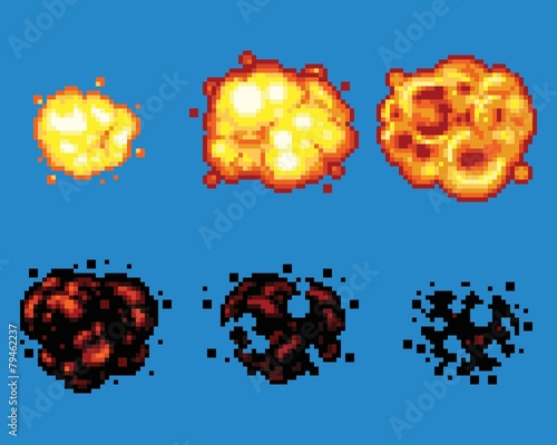 Pixel Art Video Game Explosion Animation Vector Frames - 79462237