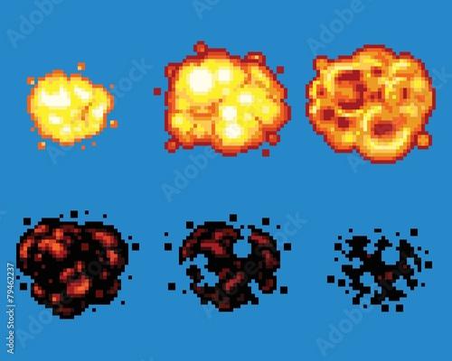 Pixel Art Video Game Explosion Animation Vector Frames - 79462237