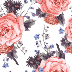 Vintage Seamless Background with Roses