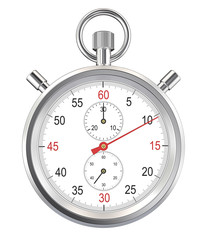 Stopwatch. Classic stopwatch. Isolated with Clipping path.