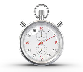 Stopwatch.Glass reflections and ground shadow. Clipping path.