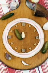 Clock made of food