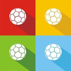 Iconos balón fútbol colores sombra