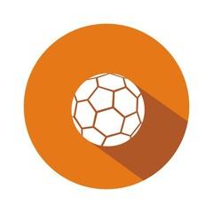 Icono balón fútbol naranja botón sombra