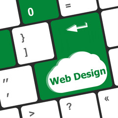 Web design text on a button keyboard key