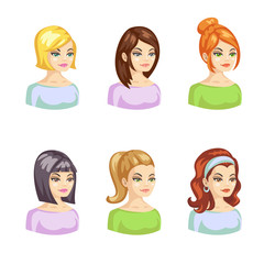 Young pertty woman cartoon avatars set with various hairstyles