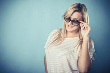 blonde girl in sunglasses