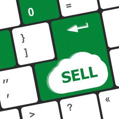 sell written on keyboard keys showing business