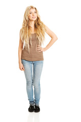 Full length student woman standing