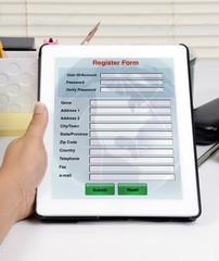 Register online form.