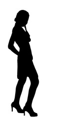 Asia female teenager silhouette actions  in studio isolated on w