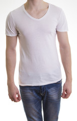 fit male figure in white t-shirt